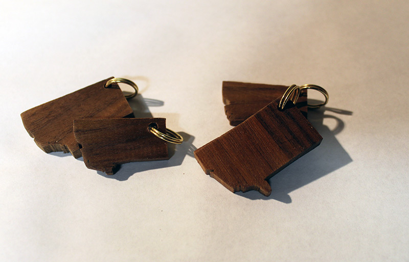 Montana shaped walnut wood keychain