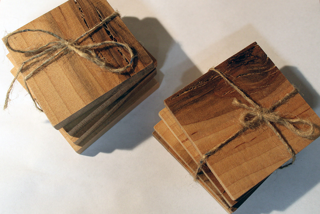 Reclimed oak and walnut wood coaster set