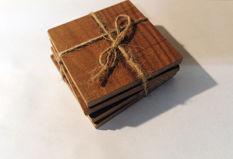 Reclimed walnut wood coaster set